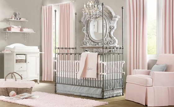 Elegant-pink-white-gray-baby-girl-room